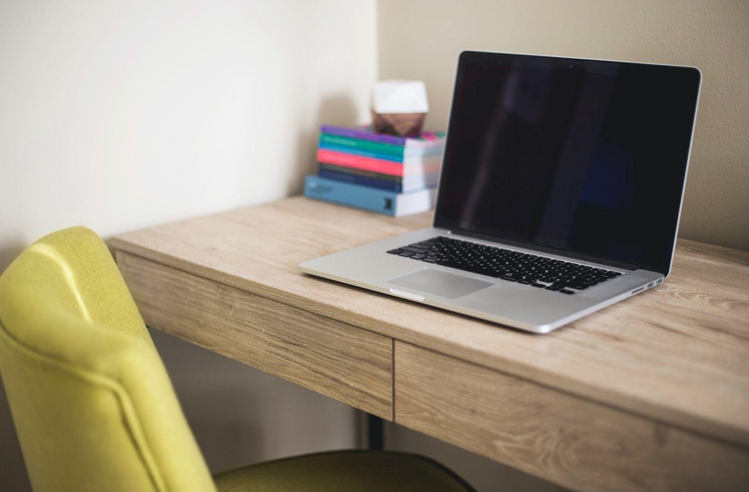 laptop on a tidy desk