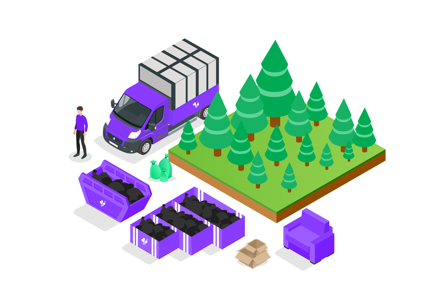 waste removal with trees graphic