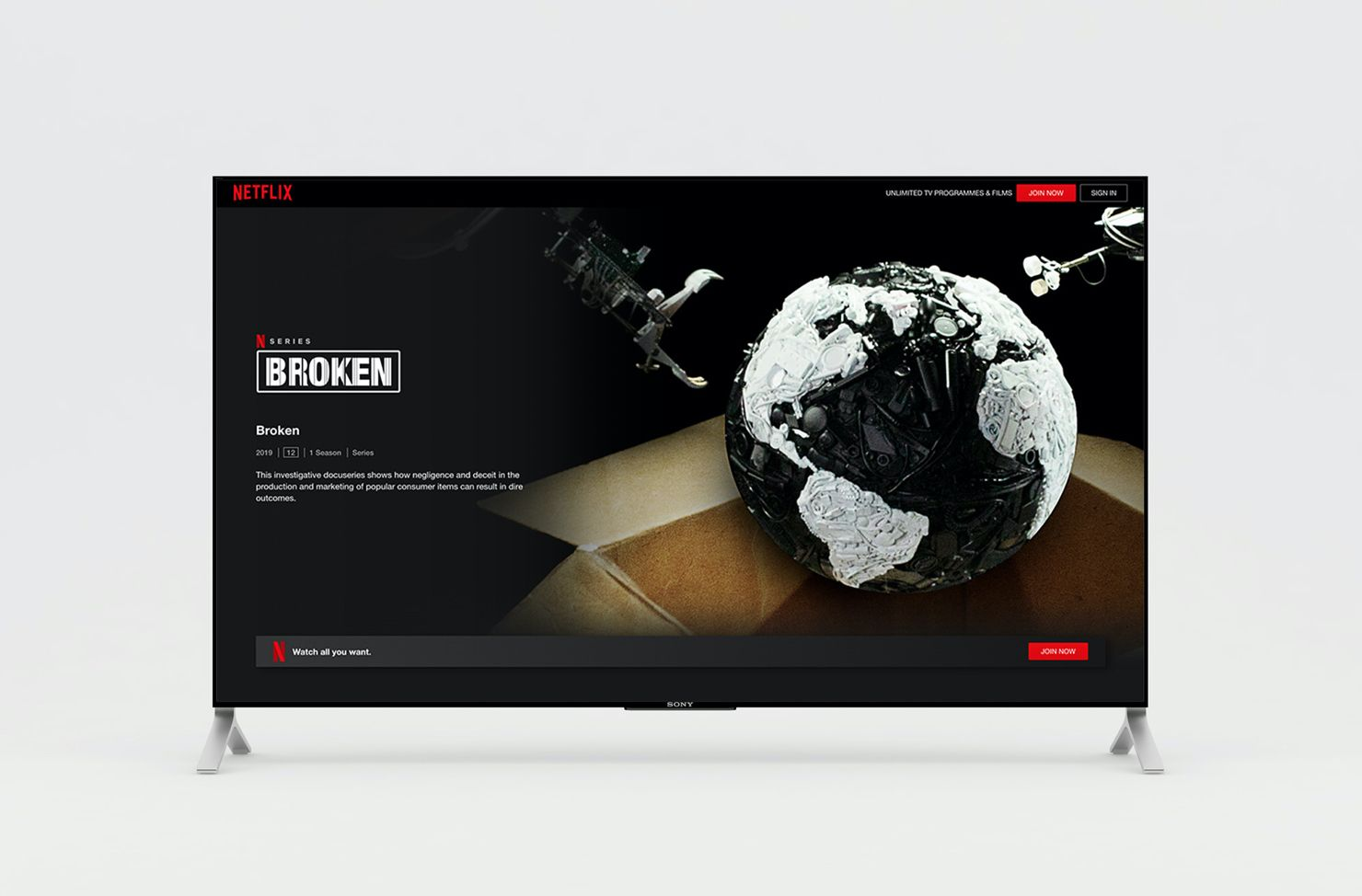tv with Netflix on
