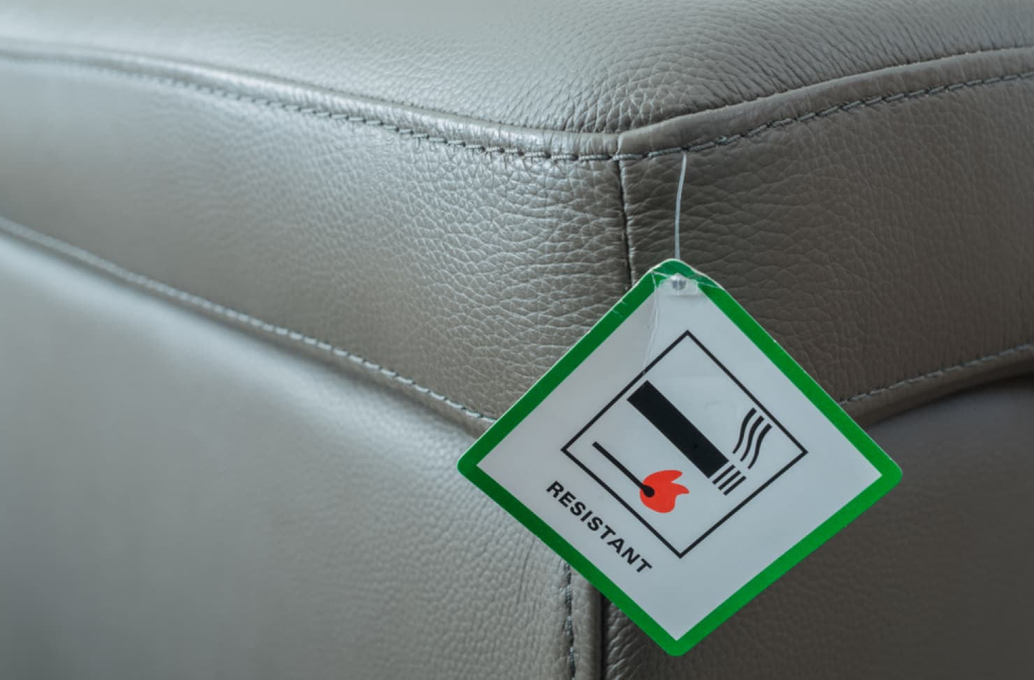 fire label on a leather