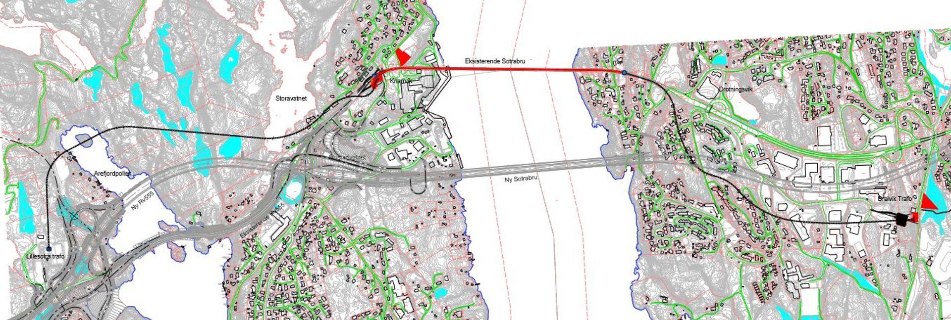 Kart over ny trase for høyspentlinjen