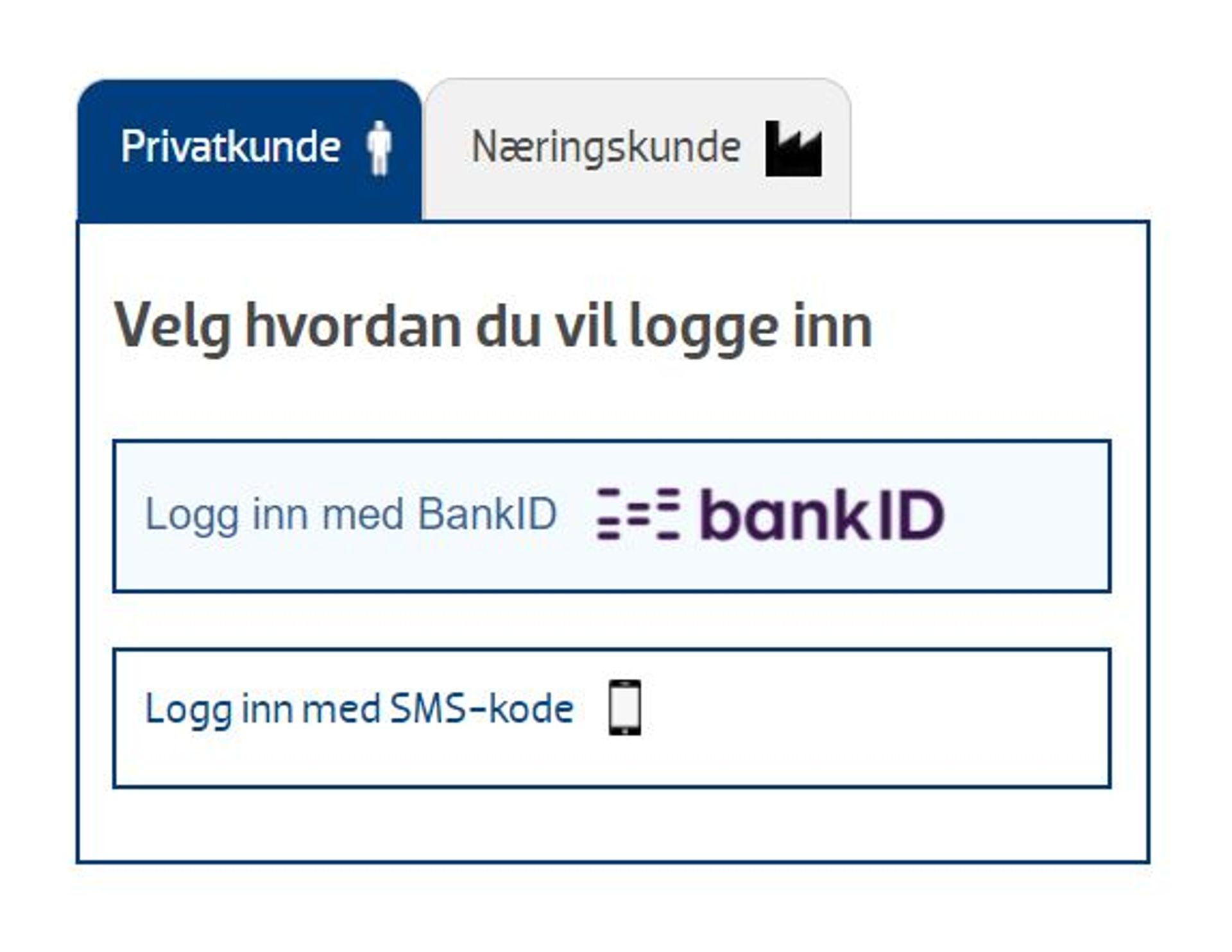 Innlogging fra BankID eller SMS-kode