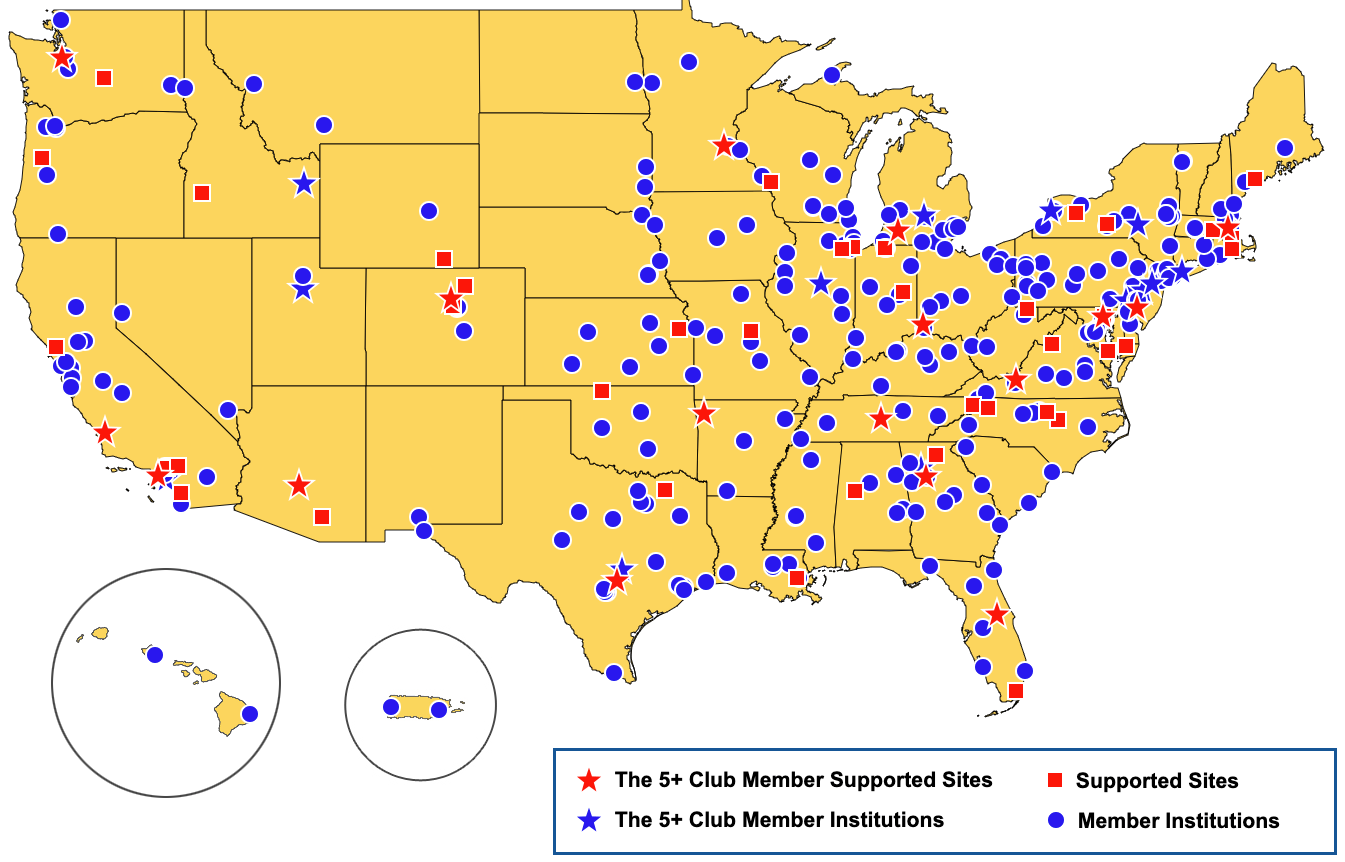 Map showing which U.S. physics departments are Members of PhysTEC.