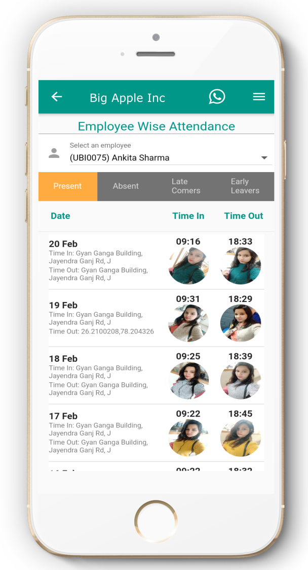 mobile attendance app - Real time Attendance