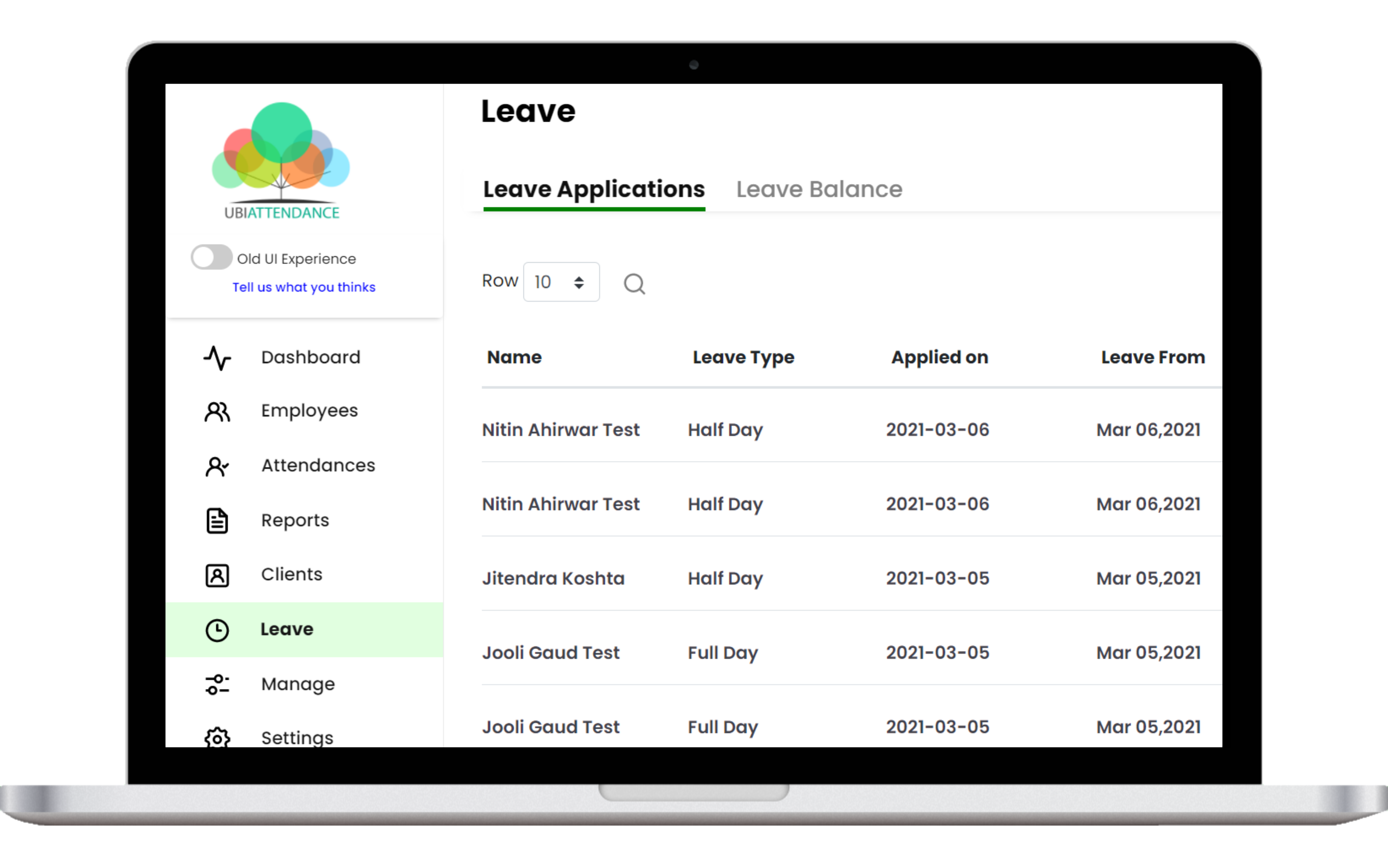 leave management app - real time data