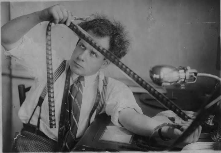 Sergei Eisenstein Russian film director inspects film