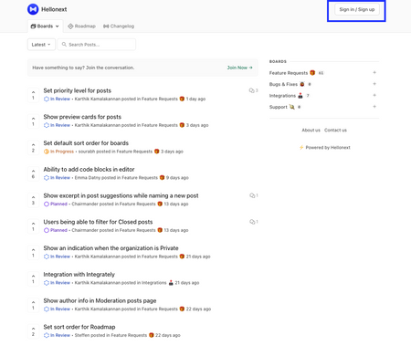 Hellonext Feedback Portal