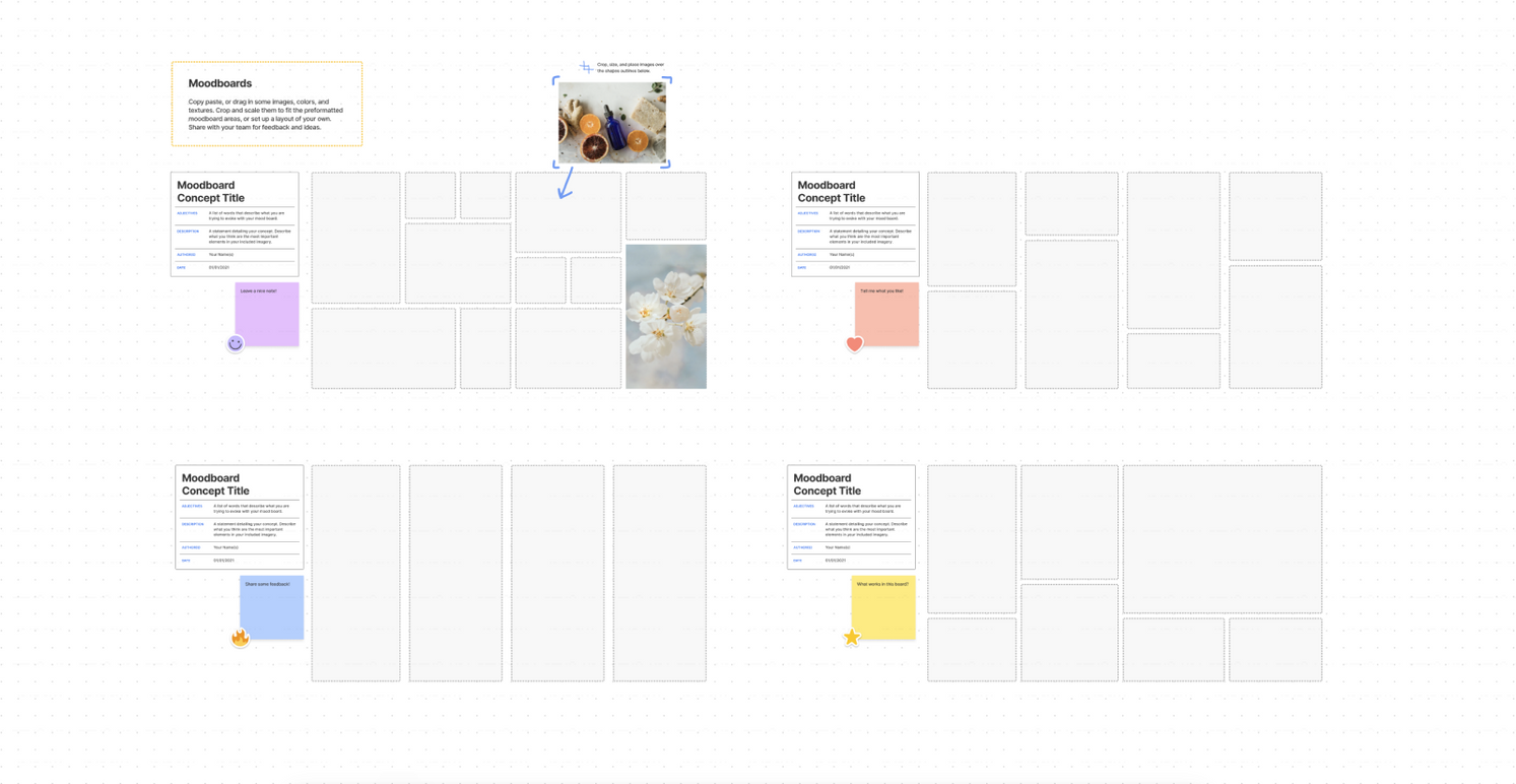 Preview of the moodboard FigJam template
