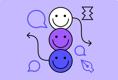 Three happy faces with chat bubbles and a pen tool icon