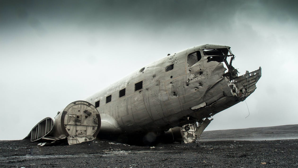 A grounded derelict plane