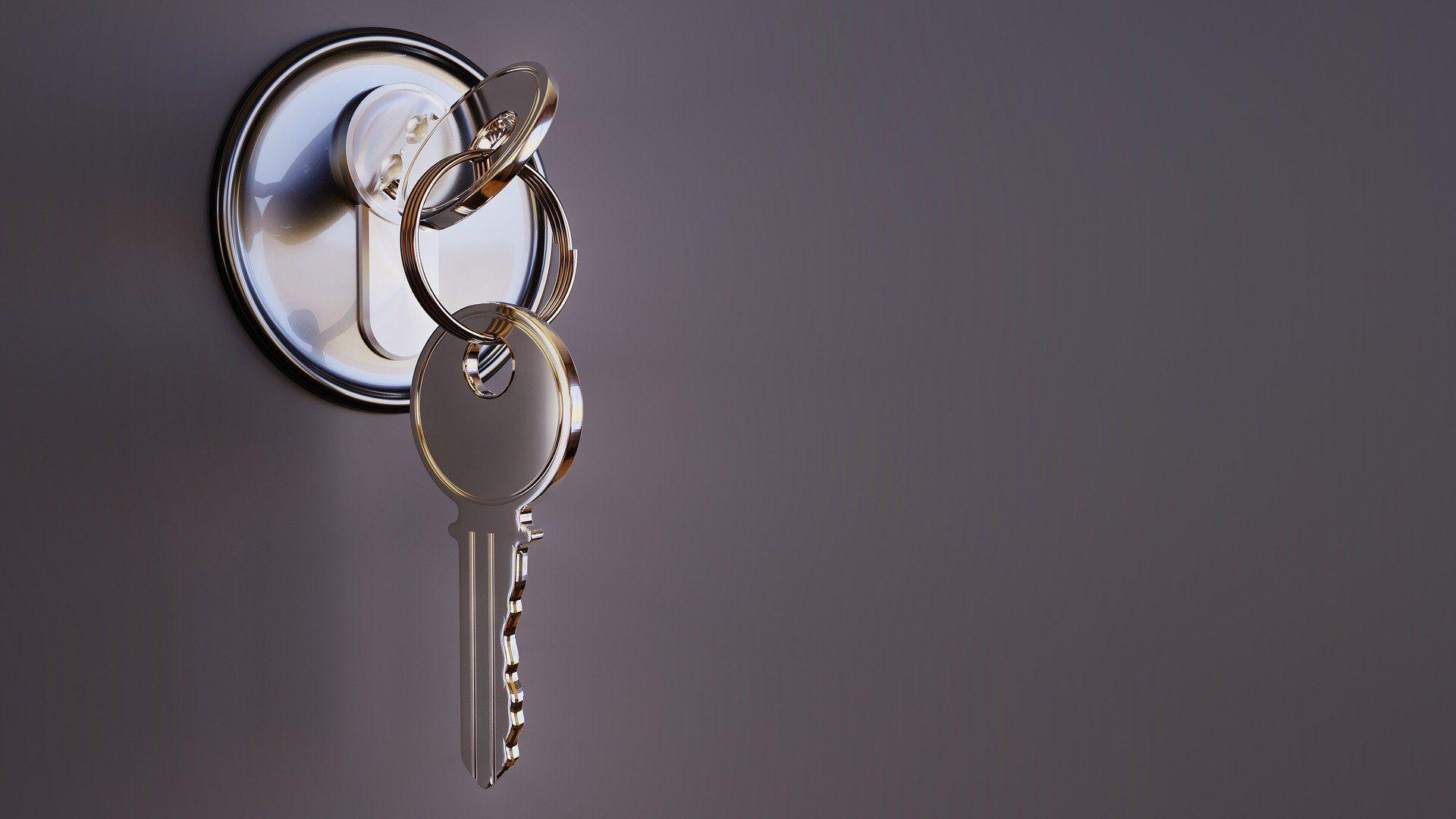 A key inside a keyhole