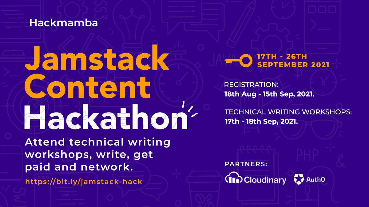 Banner image with info on Hackmamba content hackathon