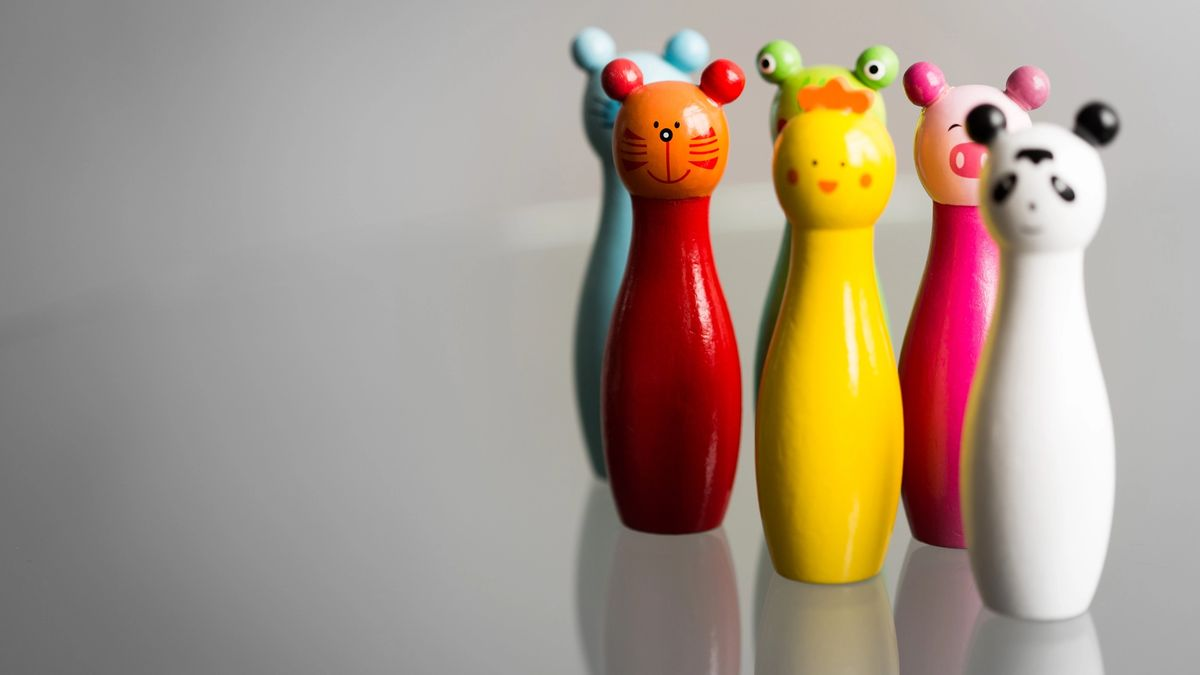 Colorful arranged animal bowling pins