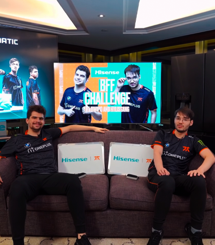 Players in a studio for the hisense collab
