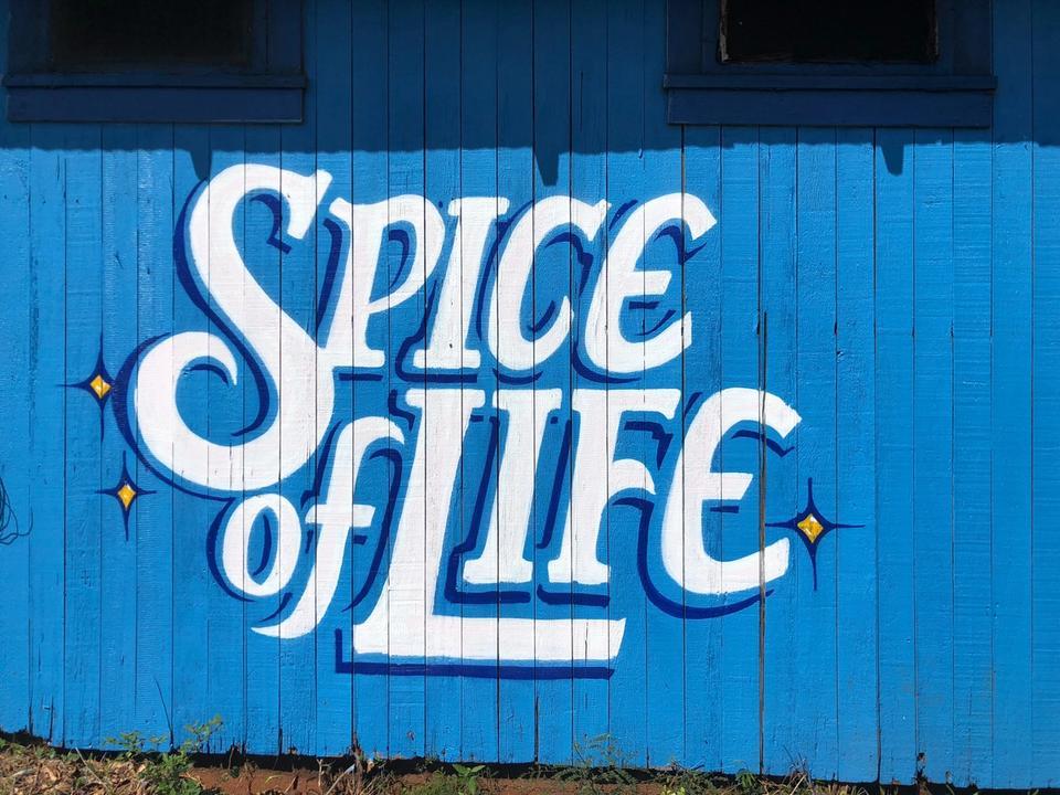 Tag Spice of life sur mur bleu en bois