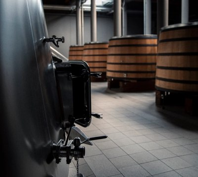 stainless steel and oak vats