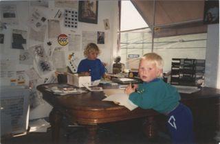 My sons JJ and Brett in my Westbeach office, 1994