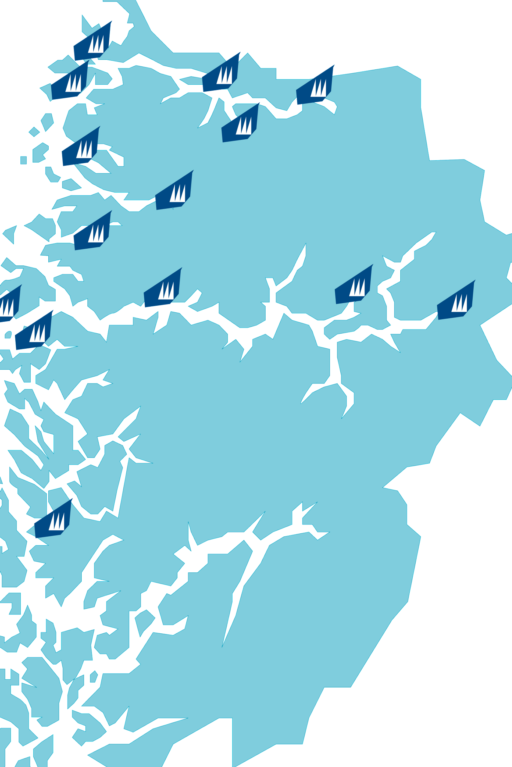 Kart over Vestland Fylke