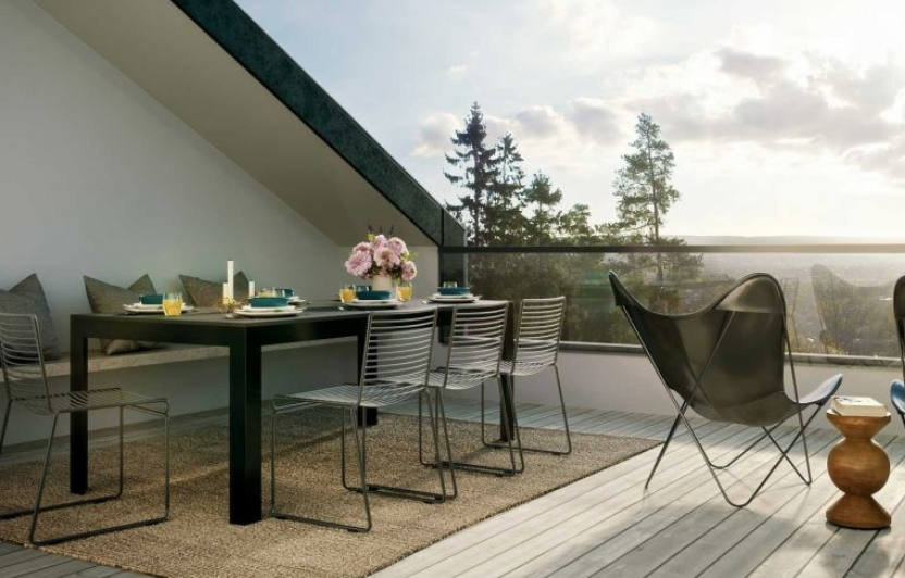 Terrassen i Krags Vei 4, med elektriske installasjoner gjort av Buskerud Elektro.