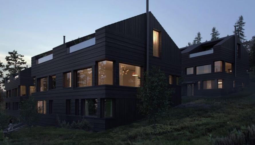 Fasaden i Krags Vei 4, med elektriske installasjoner gjort av Buskerud Elektro.