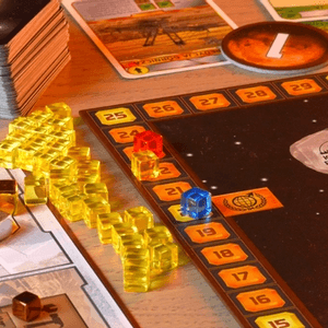 Pola numerowane na rogach planszy służą do podliczania współczynnika terraformacji każdego gracza. (Terraformacja Marsa)