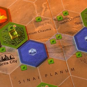 Obszary graczy, oceany oraz niezajęte pole Noctis City. (Terraformacja Marsa)