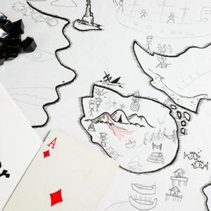 """Elementy gry, czyli m.in. """"Wyrocznia"""", karty do gry, znaczniki pogardy i mapa (The Quiet Year)"""