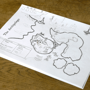 Przykład mapy uzupełnionej rysunkami graczy w trakcie rozgrywki (The Quiet Year)