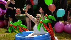 Jess in a mini swimming pool