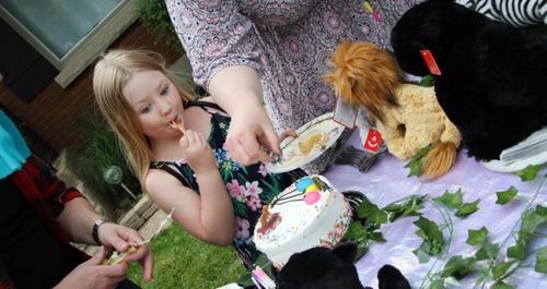 Alyna eating cake