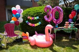 A flamingo blow up, and