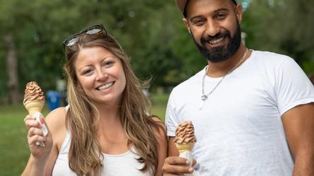 A couple enjoying some ice cream