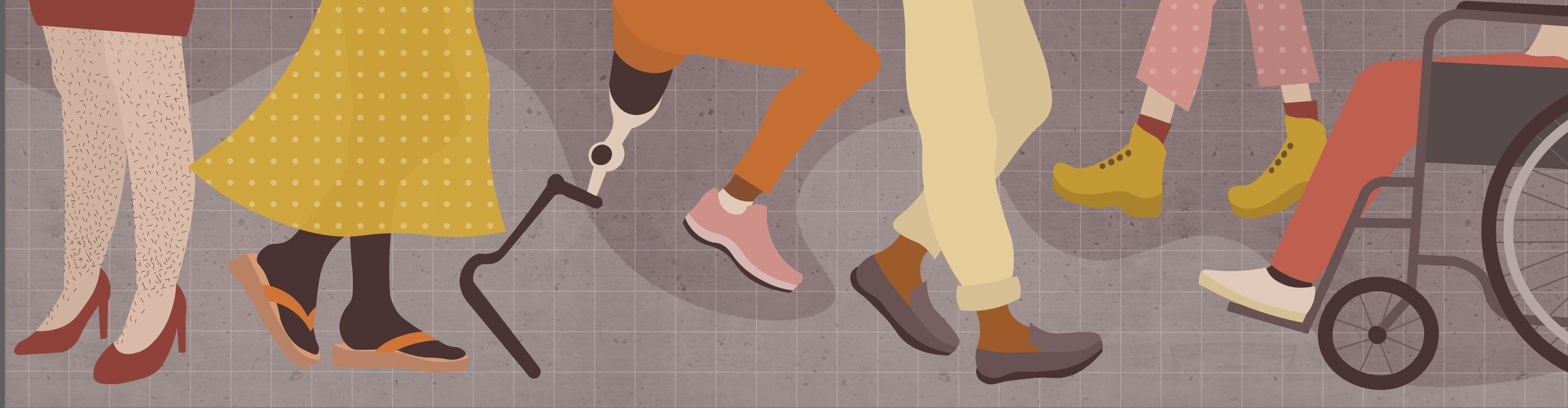 Illustration of the lower half of six different people's bodies. From left to right, a person in heels with hairy legs, a person with a skirt on and thongs, a person with one artificial leg and one non-artifical leg, a person with pants and brogues, a person in boots and a person in a wheelchair.