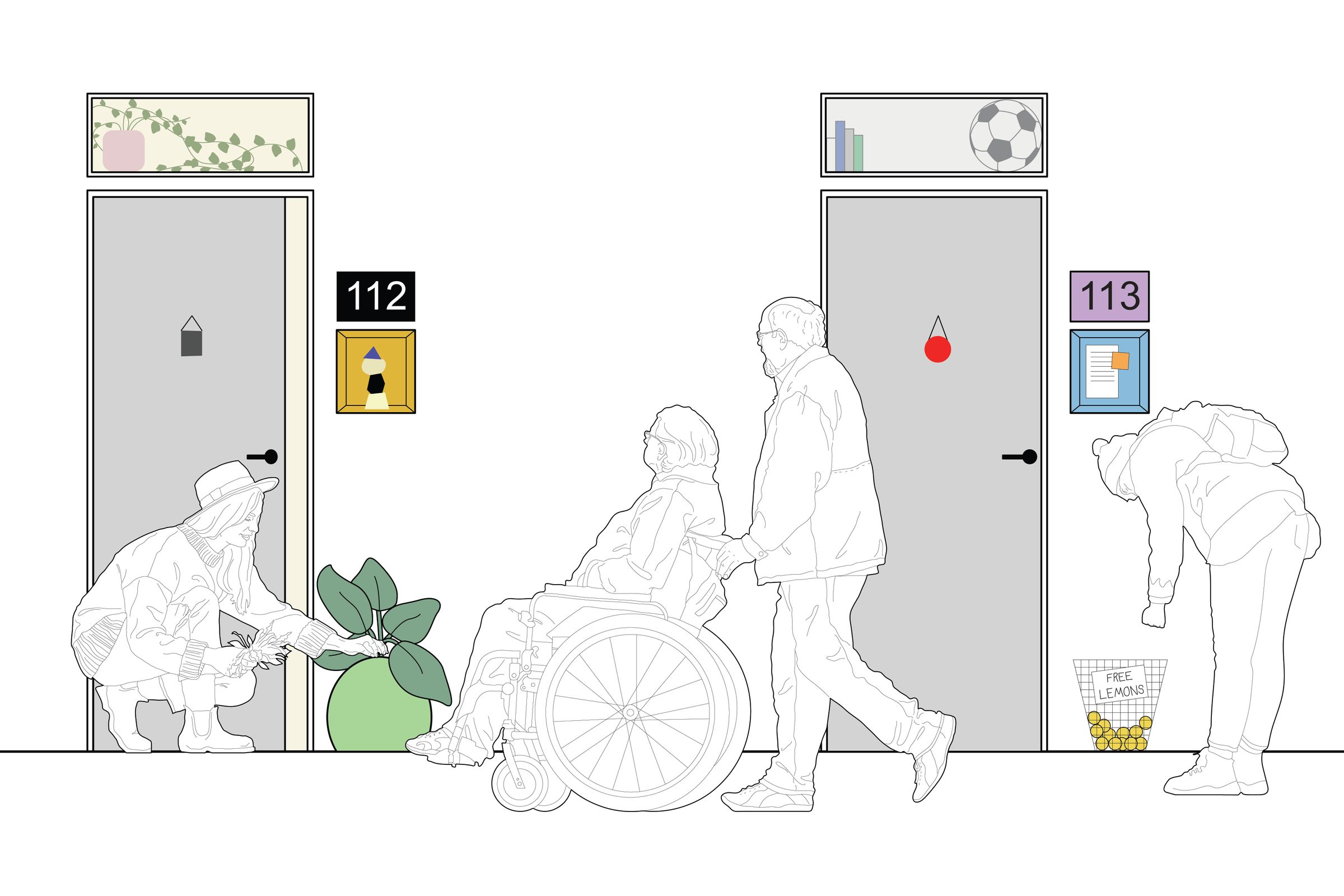 The illustration shows two apartment doors, each personalised with various objects and design features to increase encounters. Each door has a window above allowing residents to see whether to light is on in a neighbours apartment. There is a woman watering a pot plant that she keeps outside her front door, she is engaged in conversation with a couple walking past.