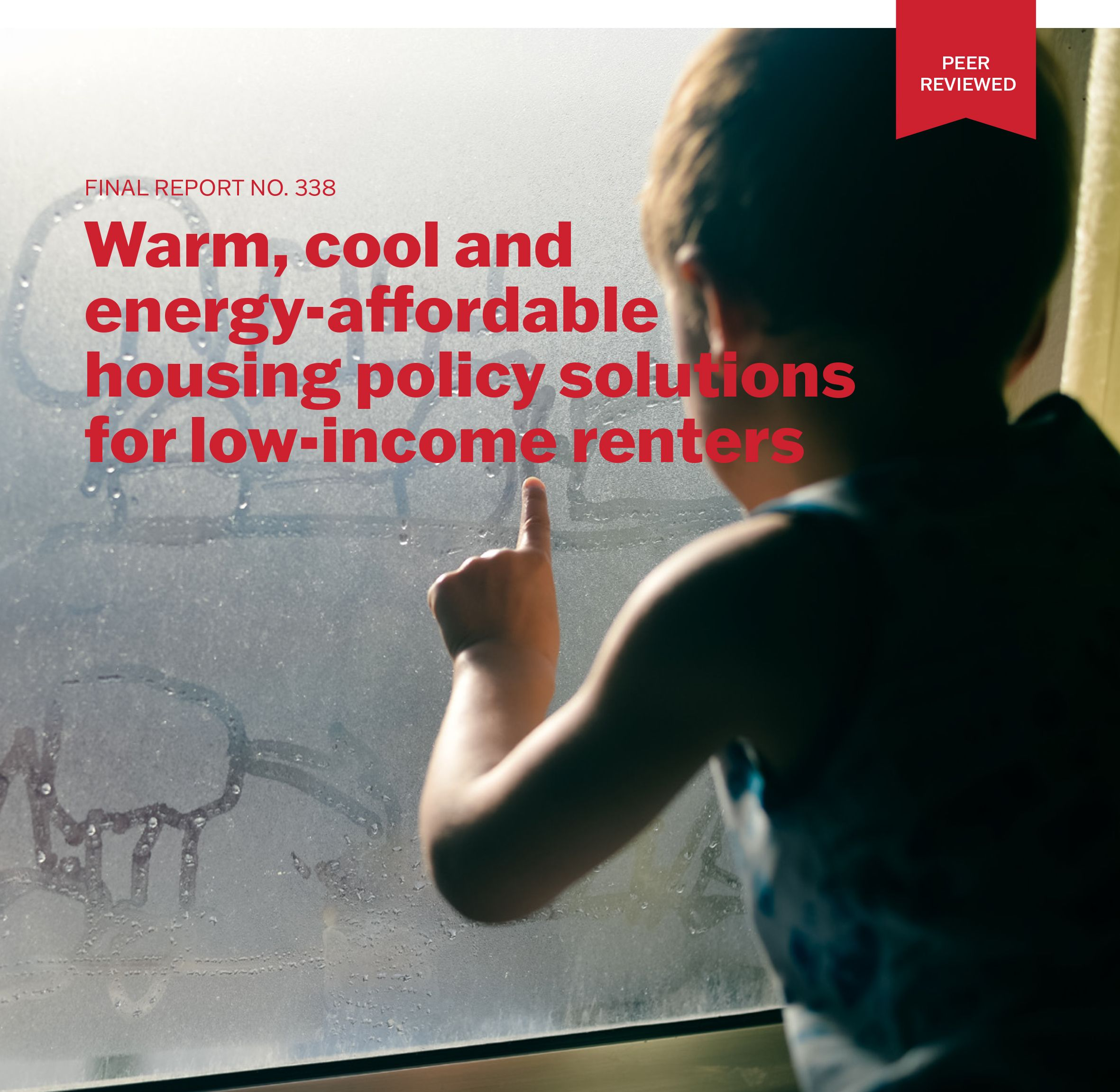 A cropped section of a report cover with a picture of a young child wearing a singlet drawing on a fogged window with their finger