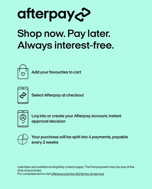 Shop Now. Pay Later. Always interest-free.