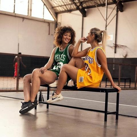 Nothing a little friendly rivalry can't ...  Our Swingman jerseys are perfect for the court and the street.  . . . . #lakers #lalakers #lakeshow #celtics #bostonceltics #vintage #swingman #NBA #Mitchellandness