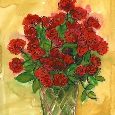 Jarrón con rosas de pitiminí