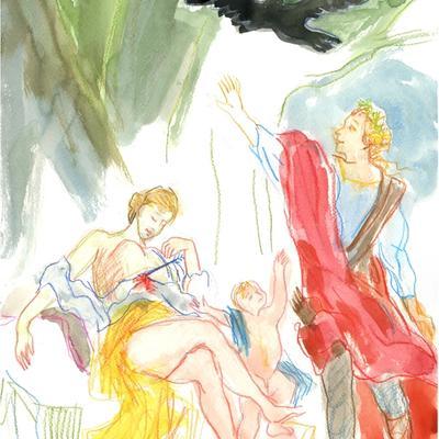 Ejercicio de confinamiento nº 45.  Diana matando a Corónide (Zoffany)