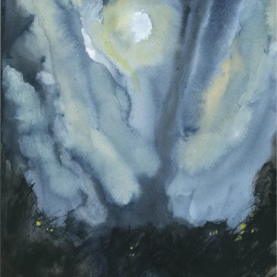 Noche con luna llena y nubes