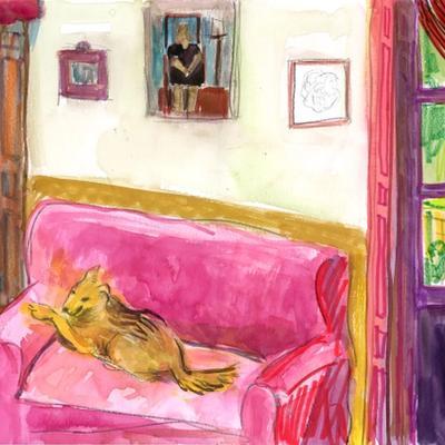 Interior con perro