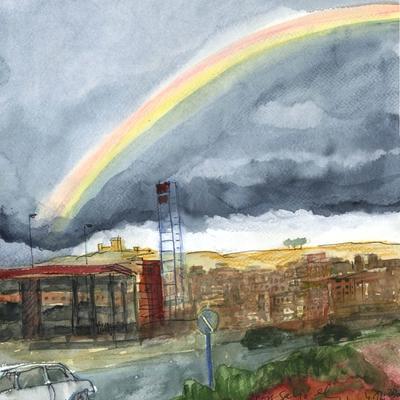 Hoy salió el arcoíris en el pueblo