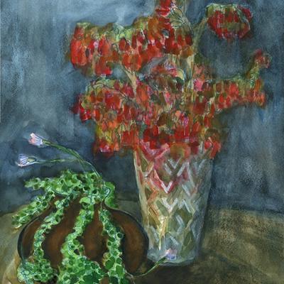 Flores de calanchoe y senecio