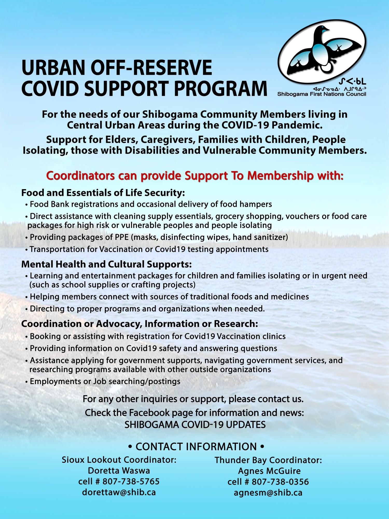 Urban Off-Reserve COVID Support Program poster