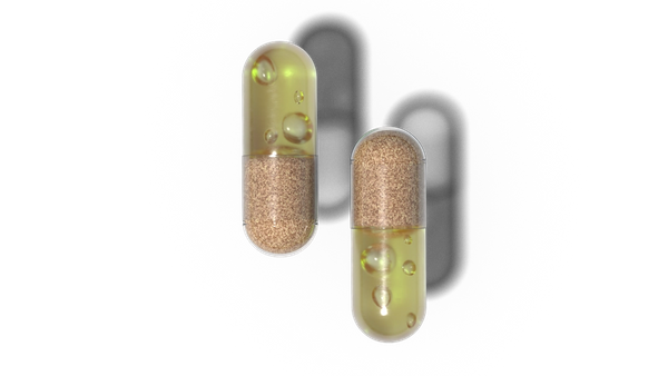 Two capsules containing all natural ingredients.