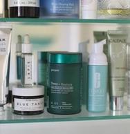 green Proper Sleep + Restore with hemp extract in medicine cabinet