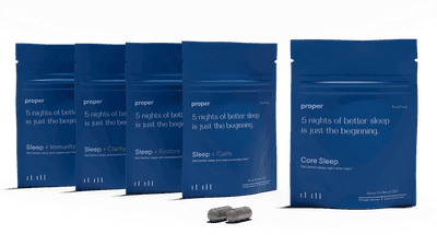 Proper's Discovery Trial Pack, with five small pouches each containing 10 capsules