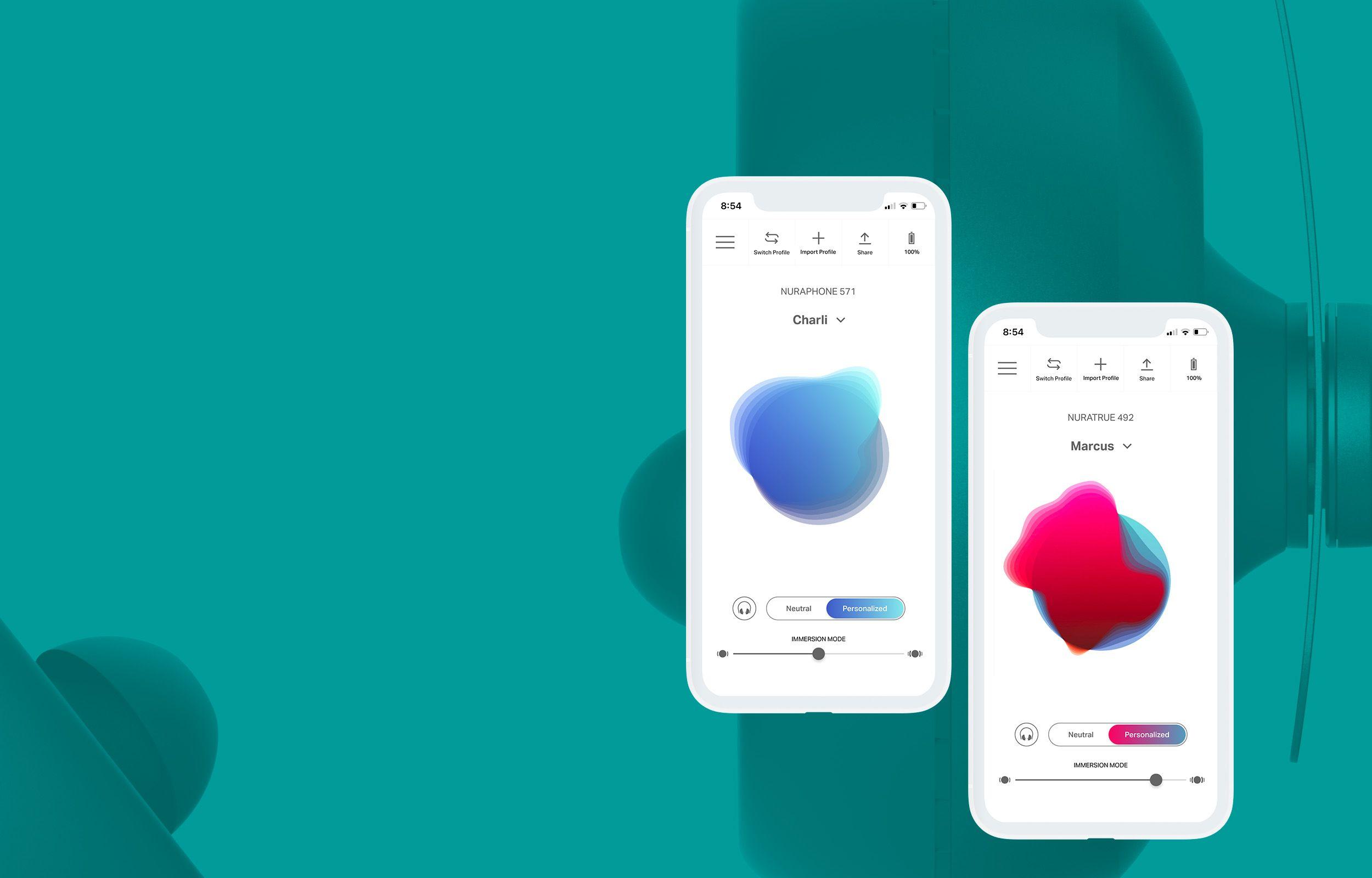 Hero image of NURAPHONE headphones overlaying solid-coloured background of Nura brand colour, Azure