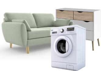 Sofa, vaskemaskin, kommode