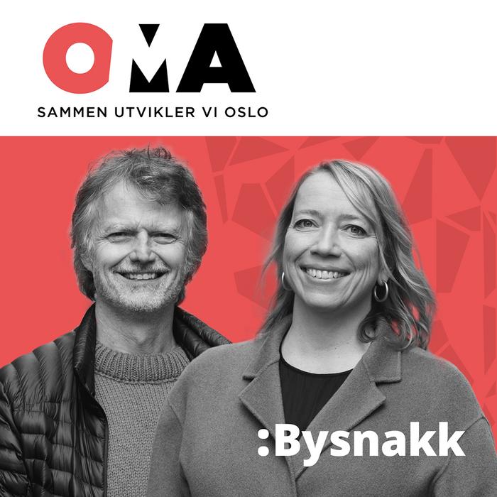 Plakat for podkast Bysnakk, Erling Fossen og Maren Bjerkeng smiler.